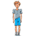 drawing of a red-haired Caucasian boy cartoon vector image