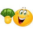emoticon with dollars vector image vector image