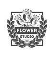 flower studio brand vintage isolated label vector image vector image