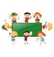frame design with children playing music vector image vector image