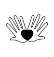 hands love heart romantic concept pictogram vector image vector image