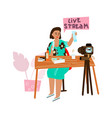 live streaming cartoon woman recording video for vector image