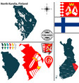 map of kainuu finland vector image vector image