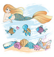 marine life mermaid underwater cartoon vector image vector image