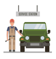 Mechanic and repaired the car vector image vector image