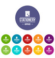 office stationery icons set color vector image