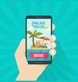 online trip booking via smartphone vector image vector image