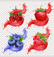 realistic berries juice splashes set vector image