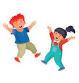 red-haired boy and girl with dark hair rejoice and vector image vector image