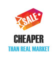 sale cheaper than real market red tag background v vector image