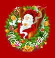 santa claus in christmas wreath spruce branches vector image vector image