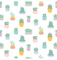 seamless pattern with cute succulents in pots vector image