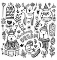 Set cute hand-drawn christmas elements