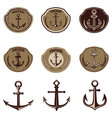 set emblems with anchor design elements vector image vector image