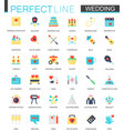 set of flat wedding icons vector image