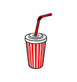 sketch cold drink cup with lid straw vector image vector image