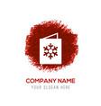 snowflake flat icon - red watercolor circle splash vector image