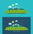 Spring nature landscape in flat design style