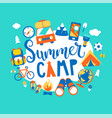 summer camp concept with handdrawn lettering vector image vector image