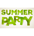 Summer Party words made from green leaves vector image vector image