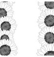 sunflower border outline vector image vector image
