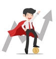 super businessman standing with coin and growth vector image