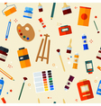 Tools and Materials for Painting Seamless Pattern vector image vector image