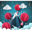 travel paper mountain tent air vector image vector image