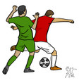 two men soccer player playing football vector image vector image