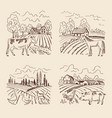 village and big field landscape vector image vector image