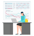 woman sitting with laptop data and analysis chart vector image vector image