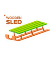 wooden sled retro classic winter sledge vector image vector image