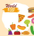 world food day healthy lifestyle meal ingredients vector image vector image
