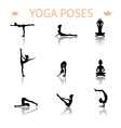 yoga silhouette poses vector image vector image