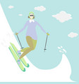 young woman do ski for web and print cute catroon vector image vector image