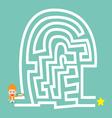 Businessman hold compass go to the maze cartoon vector image