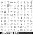 100 tasty food icons set outline style vector image
