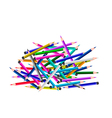 A Group of Colored Pencils on White Background vector image vector image