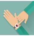 Alert button on the wrist vector image