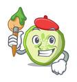 artist fresh slice cucumber on character cartoon vector image
