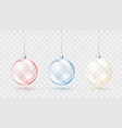 christmas balls colorful set red blue and yellow vector image vector image