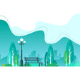 city park with town buildings on a background vector image