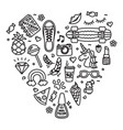 cool teenager stuff favorite things doodle heart vector image vector image