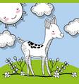 cute deer animal with happy sun vector image vector image