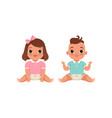cute little baby boy and girl characters sitting vector image