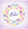 easter card with cute bunnies chickens and owl vector image