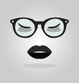 elegant lady lips with sunglasses and stars icon vector image vector image