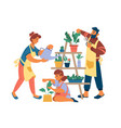 family gardening at home together water flowerpots vector image vector image