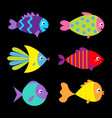 fish icon set cute cartoon kawaii funny character vector image