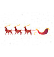 flat christmas reindeer with santa sleigh vector image